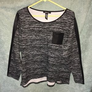 Style & Co. Blouse w/ faux leather detailing